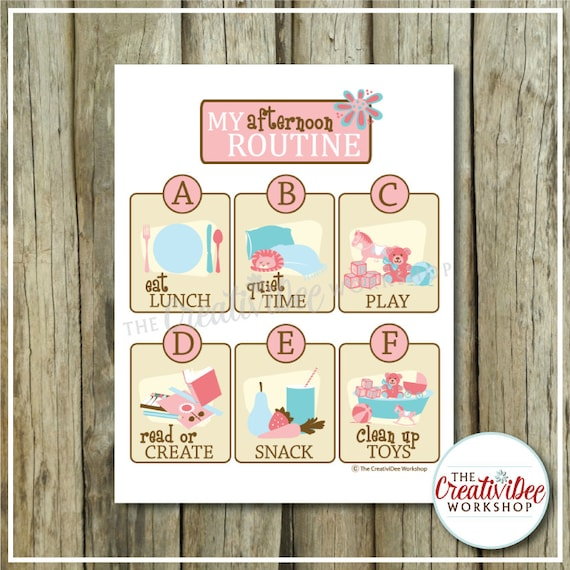 Afternoon Routine Chart | Pink Theme | Routine Chart | Printable Routine Chart | Instant Download | Girl Theme | Afternoon Schedule