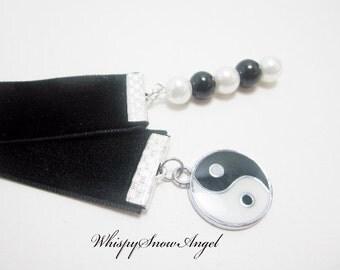 Yin Yang Bookmark Black Velvet Ribbon Chinese Symbol White and Black Glass Pearls Yin Yang Charm