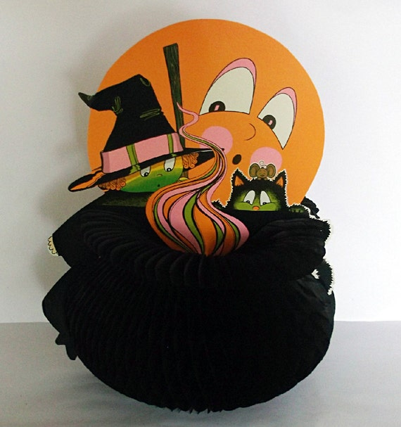 Beistle Halloween Honeycomb Witch Cauldron Cat Moon 1970s
