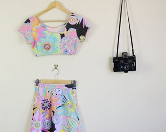 Pastel Floral Print Twin Set Skirt and Crop Top Summer Party Lolita Matching Set 90s 60s Australian Paradise
