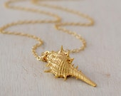 Gold Seashell Necklace, 14K Gold Filled Chain, Gift Under 35