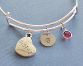 Sister Bracelet, Heart Bracelet, Initial Bangle,Silver Bangle,Personalized,Expandable,Charm Bracelet,Birthstone Bracelet,BFF Friend,Birthday
