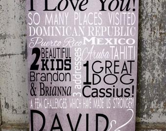 10 Year Anniversary Personalized Subway Art Family Name Sign Birthday Subway Art Sign, Personalized  Wedding Sign, Vintage