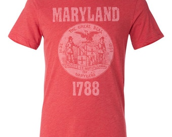 Maryland State Seal T-Shirt. Vintage Style Soft Retro New England Shirt Unisex Men's Slim Fit and Women's Tee