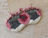 Deco Floral Sleep Mask in Pink, Red, White // Lace & Satin Eye Mask