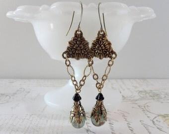 Large Brass Dangle Earrings // Floral, Sea Green Glass