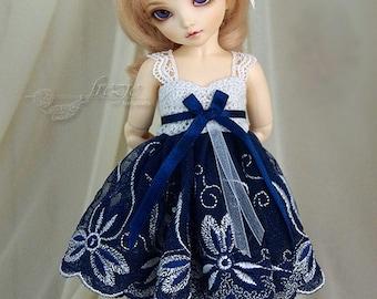 Silver & navy-blue dress for TINY bjd LittleFee Momocolor 29, Saintbloom