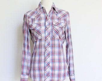 Vintage Plaid Western Shirt // Pearl Snap Shirt Small // Mr. Leggs Shirt