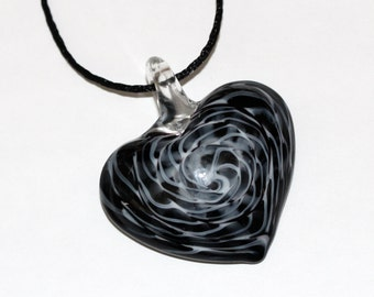 Lampwork Glass Heart Pendant, charm, black white and clear spider web pattern |LMP-011