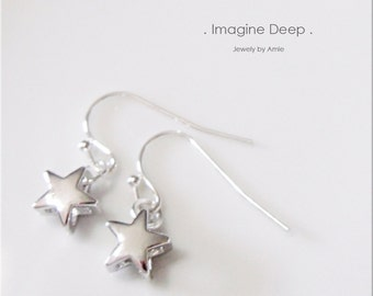 50%off SPECIAL Silver Star Earrings Silver Plated Rhodium Platinum Plated Stars Dangle Earrings