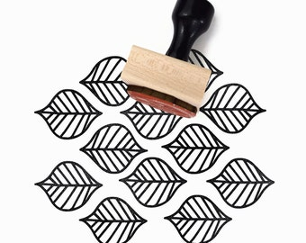 Rubber Stamp Leaf Pattern - Hand Drawn Geometric Pattern Stamp