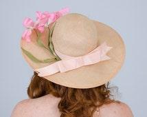 1970s vintage hat / wide brim straw hat / Mr. John