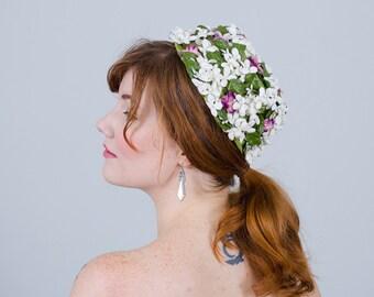 1950s vintage hat / flower hat / Peeking Violet