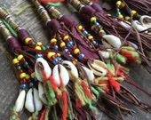 Cowry Cowrie Shell Tuareg Goat Leather Tassel, Boho Jewelry Making Pendant, Supply, Leather Tassel Fringe Keychain, Purse Charm, Beaded JuJu