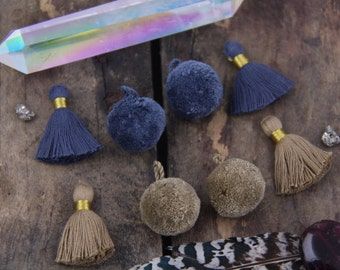 "Fall Tassels & Pom Poms, Cotton, 2 Colors: Stormy Weather, Iced Coffee, Autumn Winter Jewelry Making Supply, 3.5"", 4 Tassels, 4 Pom Poms"