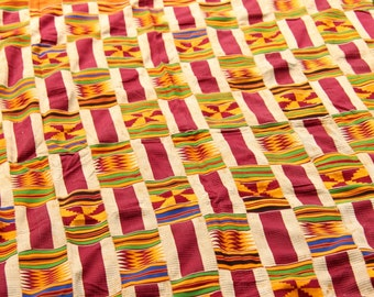 Marsala & Yellow Kente Cloth, Vintage Tribal Textile Cloth, Weaving, Ghana, West Africa, Decor, Reupholstering, Design, Supplies, Fall Decor