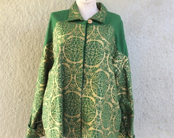 Block Print Jacket Gold on Green Jacket - Swing Jacket with collar and full Cuff Sleeves