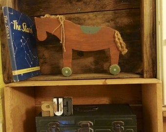 Handmade Wooden Horse Decorative Pull Toy for Home Decor or Nursery