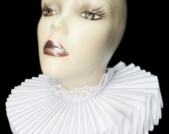 Ruffled Collar White Satin Tall Wide Elizabethan Neck Ruff Victorian Steampunk Gothic Edwardian