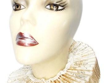 Ruffled Collar Ivory Gold Silver Elizabethan Neck Ruff Victorian Gothic Steampunk Tudor Satin