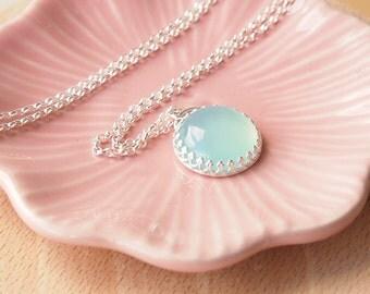 Aqua Silver Pendant - Blue Gemstone Necklace - Sea Blue Silver Pendant Necklace - Agate Pendant - Wedding Jewelry - Gift for Girl