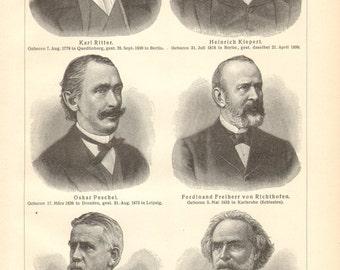1904 Portraits of Famous Geographers, Ritter, Kiepert, Peschel, von Richthofen, Ratzel, Reclus Vintage Print