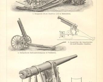 1910 Coastal Artillery Guns, Howitzer, Anti-aircraft Warfare Orginal Antique Engraving