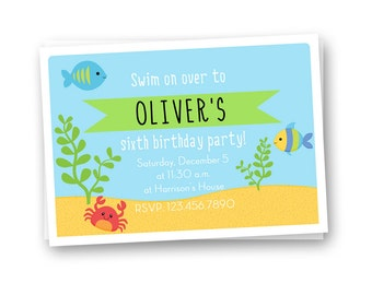 Under the Sea Birthday Invitation, Fish Birthday Invitation, Kids Birthday Invitation, Boys Birthday Invitation