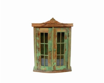 Vintage Cupboard Wooden Wall Cabinet Glass Pane Doors Chippy Apple Green Paint Cottage Painted Furniture Farmhouse Curio
