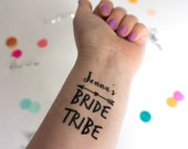 Bride Tribe Temporary Tattoos, Bachelorette Party, Custom Tattoo, Personalized Tattoo, Party Favor, Bachelorette Favor, Fake Tattoo