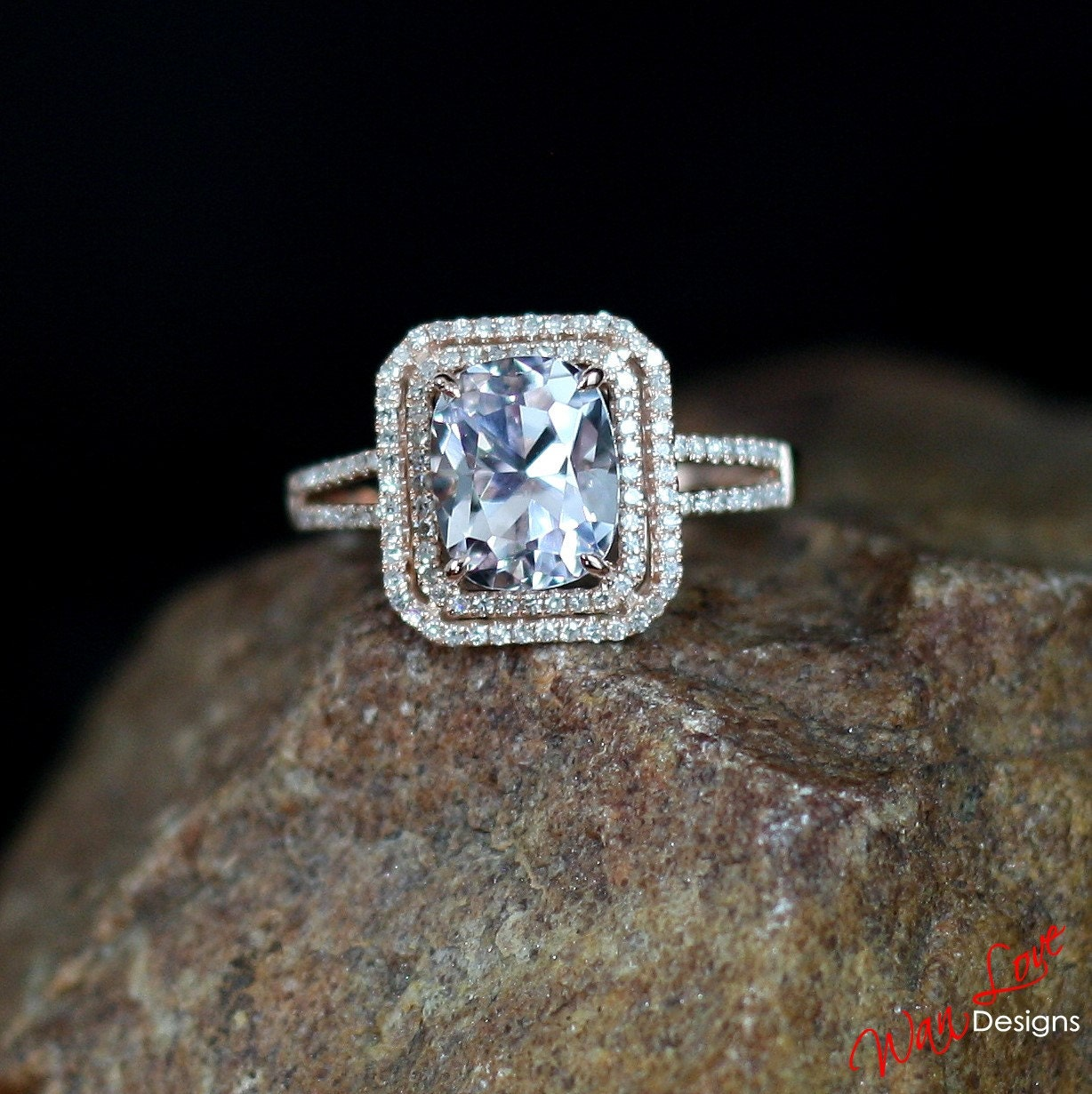 Light Pink Sapphire & Diamond 2 Halo Engagement Ring 2 5ct