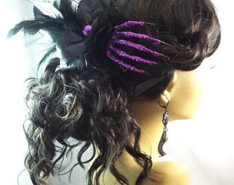 Black Purple Skeleton Hand Fascinator Barrette - Zombie - Feather Lolita