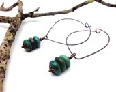 Genuine Turquoise Cairn Earrings    Genuine Antiqued Copper Lotus Ear Wires    Trail Marker