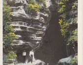 Entrance to Raven's Den- 1910s Antique Postcard- Sulphur Lick Springs- Starved Rock Trail- Wedron, Illinois- Rock Formation- Paper Ephemera