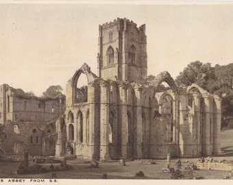 Fountains Abbey- 1900s Antique Postcard- Cathedral Ruins- English Church- Yorkshire, England- Souvenir View- Paper Ephemera- Used