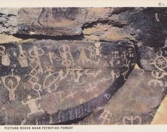 Picture Rocks- 1940s Vintage Postcard- Petrified Forest, Arizona- Pictograph Art- Ancient Petroglyphs- Souvenir Card- Paper Ephemera- Unused