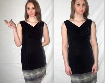 Jinx .. vintage 60s mini dress / 1960s cocktail party / black velvet mod go go / faux fur trim / LBD mad men twiggy .. XS S