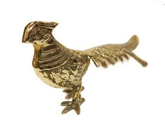 Antique Brass Pheasant Table Decoration 1920s