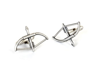 Gifts for Boyfriend Bow and Arrow Cufflinks in 925 Solid Silver