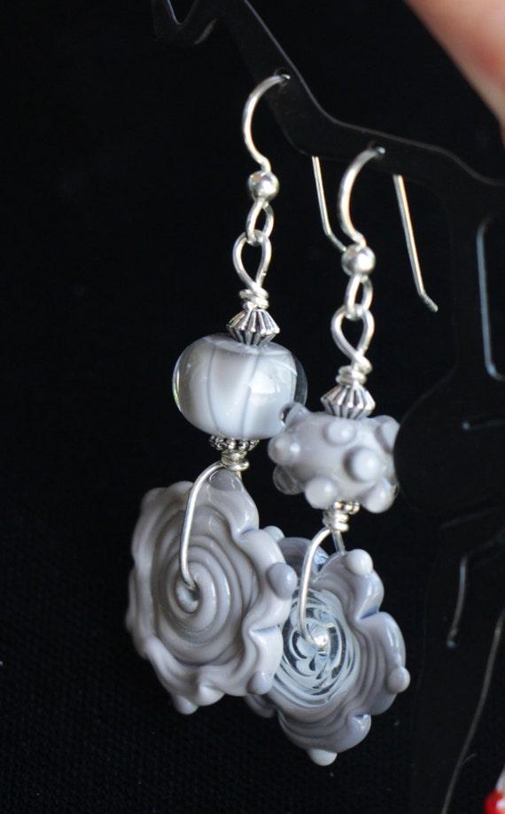 Asymmetrical Grays Lampworking Sterling Silver Earrings
