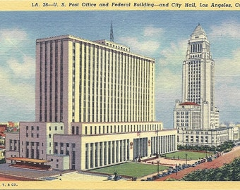 Vintage 1940's Los Angeles California Postcard Federal Courthouse and City Hall