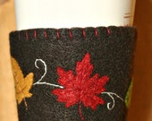 Fall Leaves on Black Felt Cup Cozy (20 oz)