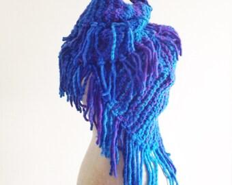 Oversize Hand Knit Fringed Shawl, large blue Wool/Acrylic wrap ready to ship