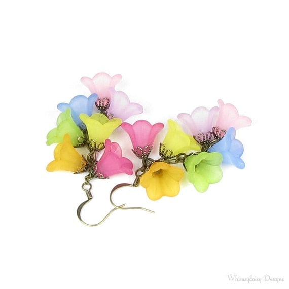 Butterfly Lily Cascading Flower Rainbow Antique Brass Earrings Pink Yellow Orange Green Blue Fuchsia Lilac Violet Purple Petal Gift For Teen