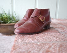 VTG Womens 7 W Calico Dress Oxfords Ankle Boots Boot Moto Motorcycle Boots Brown Leather Boots Monk Strap Booties Spring Fashion Biker Rider