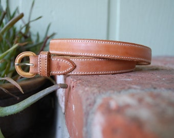 Vintage Small Size 28 Belt Belts Polo Ralph Lauren High Waisted Tan Leather Belt Boho Hippie Hipster Preppy Designer Spring Summer Fashion