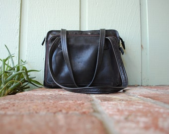 VTG Tignanello Durable Leather Tote Bag Shoulder Bag Briefcase Travel Bag Purse Boho 90s Unif Preppy Hipster Fashion Organizer Laptop Bag