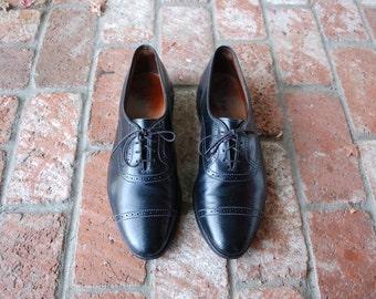 VTG Mens 11d Allen Edmonds Winfield USA Laced Oxfords Wingtips Black Leather Cap Toe Dress Shoes Wedding Prep Hipster High Fashion Hamptons