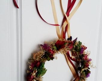 Wedding hair wreath accessories wine rust Flower Girl crown Halo marsala dried floral Bridal garland merlot marsala photo prop