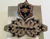 Antique Silver Bouillon Black Brooch Pair Hand Made